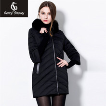 In the long thin jacket size lady seven loose sleeve detachable fox fur collar winter coat(China)