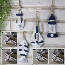 DIY Mediterranean Ship Hook Thermometer Decor Collection Figurines-miniatures(China)