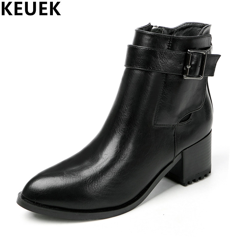 Autumn Women Motorcycle boots Genuine leather Pointed Toe Ankle boots Fashion Med heel Ladies shoes 022<br>