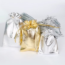 50PCS Metallic Foil Cloth 7x9/9x12/10x15cm/13x18cm Organza Bags Wedding Decoration Favour Gifts Shinning Candy Packaging Pouches(China)