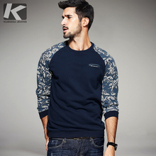 KUEGOU Autumn Mens Fashion Sweatshirts Print Patchwork Blue Brand Clothing Man's Slim Pullover Clothes Male Wear Tracksuits 6071(China)