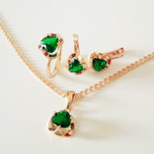 1Set 2017 New Fashion Bridal Jewelry Sets Trendy Green Heart Shape Cubic Zircon Earring Ring and Necklace Jewelry Sets(China)