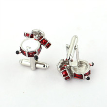 HSIC New Red White Drum Cufflinks Fancy 3D For Men Women Shirt Accessory Fashion Metal Cuff Links Father's Day Gifts