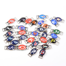 30pcs Teams Logo Mixed MLB Baseball Shoelace Charms For New Sneakers Sport Shoes Paracord Bracelets Decoration Jewelry