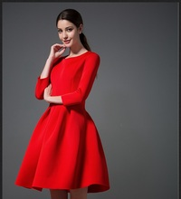 Winter on sale women red dress classic round neck long sleeves high waisted ball gown dress solid knitted vintage fitting dress(China)