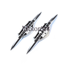 1 Pair Chrome ABS Plastic Motorcycle Gas Tank Emblem Sticker Badge Decal For Suzuki Boulevard(China)