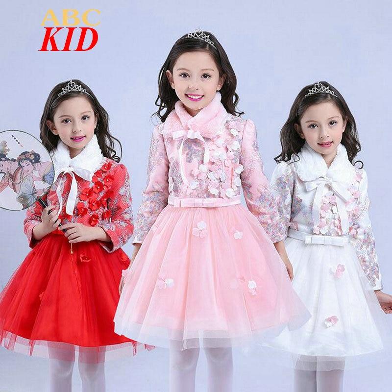 New Fashion Winter Fleece Thick Dress Kids Warm TUTU Dress Princess 3D Flowers Party Dresses Girl Quality Birthday Clothes KD227<br><br>Aliexpress