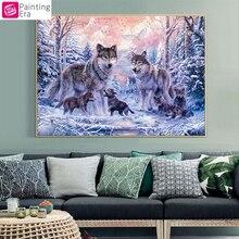 Эра, животные вышивки крестом, полный Вышивка, волк Семья живопись, 14ct крестиком, 40x50 см рукоделие, Наборы для ухода за кожей для Вышивка vs-37(China)