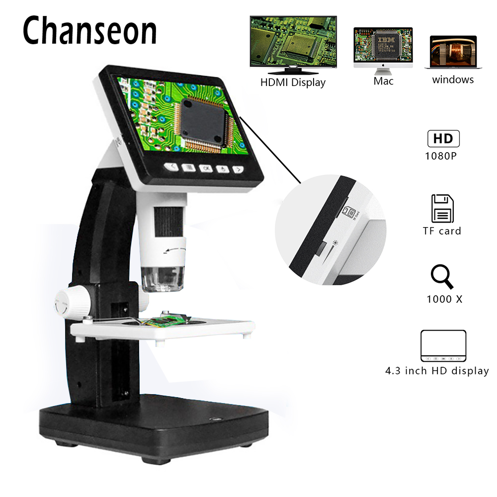 4.3 inch 50X-1000X Magnification Zoom Megapixels Compound Handheld 8 Adjustable LED Lights Lab Microscopes Camera 1080P Digital Microscope