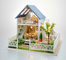 24th DIY Wooden Dollhouse 3D Model Kit Miniatures Doll house- Large Villa & Furnitures/English instructions X'mas Gift(China)