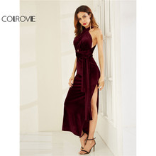 Buy COLROVIE Velvet Convertible Party Dress 2017 High Slit Sexy Women Burgundy Maxi Summer Dresses Sleeveless Cross Back Long Dress for $20.98 in AliExpress store