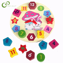 Wooden blocks toys Digital Geometry Clock Children's Educational toy for baby boy and girl gift montessori scale models(China)