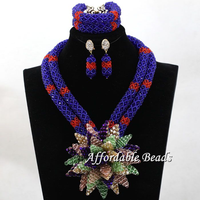 2017 New Women Beads Weaving Nigerian African Bridal Wedding Jewelry Set Beaded  Party Costume Jewelry Set Handmake  hx102