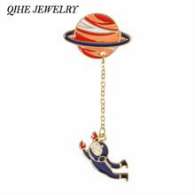 QIHE JEWELRY 2 Style Galaxy Saturn Planet Astronaut Rabbit Brooch Pins With Chain Shirt Collar Accessories Lovers Unisex Jewelry(China)