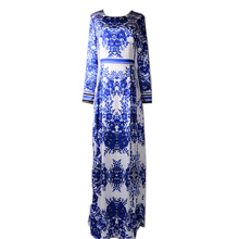 Summer Women's 2017 Top Fashion Classic Designing Blue and White Porcelain Printed Maxi Long Vintage Plus Size XXXL Dress