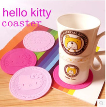 1pcs sample hot pink&pink Hello Kitty Soft Silicone Coffee Coaster kidproof Cup wedding party birthday party gifts free shipping(China)