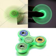 Glowing Hand Spinner Tri Fidget Ceramic Desk Focus Toy EDC For Kids Adults