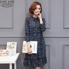2017 summer Spring New Long Sleeve fashion Natural Beauty Floral Print Chiffon Dress Women pure elegant  Dress 700D 30