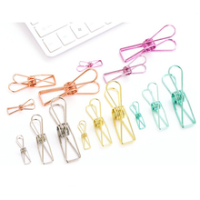 20 pcs/1 lot Cute Metal Binder Clips Clips Small Craft Photo Pegs office bookmarks Kawaii Stationery 5 Color Size S M L(China)