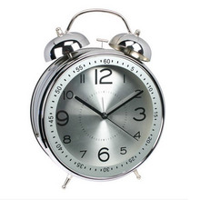 Brand Authentic Large 4 inch 8 inch Fashion Creative Cute Alarm Clock Mute Vintage Aluminum Decorative Metal Table Clock Face