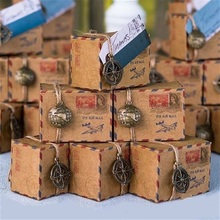 Mail Box Design Kraft Paper Candy Boxes Christmas Chocolate Packaging Party Favors Set of  12