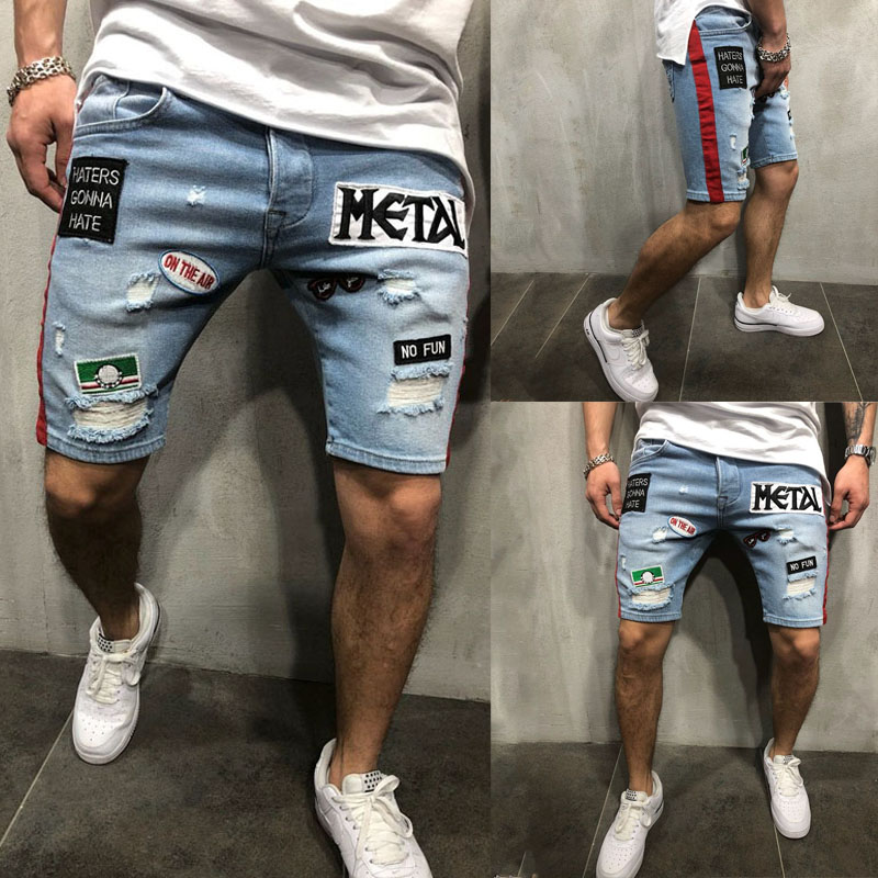 New Men/'s Cotton Denim Shorts Distressed Ripped Short Jeans Loose Pants Summer