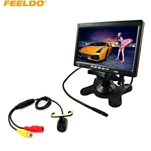 "FEELDO DC12V 7"" Headrest Standalone TFT LCD Monitor With 16.5mm CCD Camera Car Rear View System #J-3754"