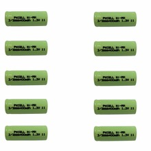 10Pcs 1.2v 2/3aaa 400mah rechargeable NIMH battery in flat top, non PCM, in industrial pvc packing