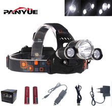 PANYUE XM-L T6 8000 Lumen   LED Headlamp Headlight Caming Hunting Head Light Lamp 4 Modes +2*18650 Battery + AC/Car Charger
