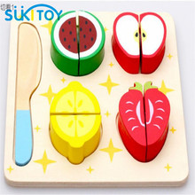 SUKIToy Kid's Soft Montessori Classic Fruit Cutting Pretend Play Wooden Blocks Toy Set 5PCS High quality gift for infant SK021(China)