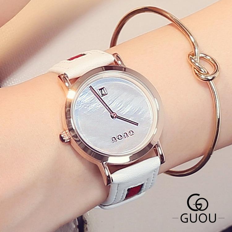 Fashion GUOU Brand Simple Trendy Womens Dress Watch Leather Calendar Rose Gold Wristwatch Clock Hours for Ladies Women Female<br><br>Aliexpress