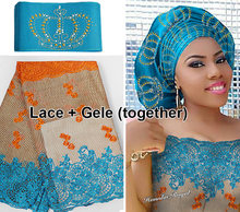 5 yards African French lace Tulle Fabric Matching Crown ASO OKE Headtie Full Length Head Gele Headscarf was beset with stones
