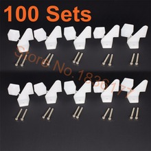 100Sets /Lot Nylon Plastic Standard Control Horns 17.5x26 mm 4 holes With Screws For RC Airplane Parts KT Model Replacement