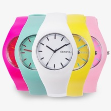 2017 Fashion Color Ultra-thin Fashion Gift Silicone Strap Leisure Watch Geneva Sport Wristwatch Women Jelly Watches