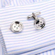GraceAngie Promotion Button Design Cuff links for Mens New Fashion Silver-color Stylish Best Gift For Men wholesale Price CJ538(China)