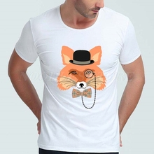 Glasses Fox Mens T Shirts Short Sleeve O Neck White Cotton Spandex Summer Cool High Quality Brand Clothing