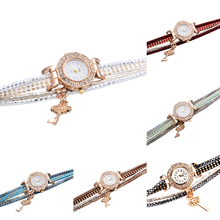 New Brand Duoya Fashion Women's Girl Diamond Chic Circle Flower Key Chain Pendant Watch Bracelet Watches Easy to Read Relojes