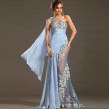 Sexy Sky Blue One-Shoulder Appliqued Draped Ruffles Pleat Lace Satin Formal Party Dress Sleeveless Mermaid Evening Dress