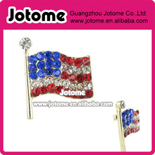 2.2 x 1.9 cm Small Gold American Flag Brooch Pin - Red, Clear, and Royal Blue Crystals(China)