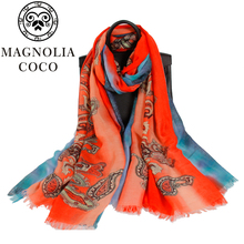 90*180CM Women Genuine Silk Scarves Fashion Printed Mulberry Silk Scarf Shawls Large Size Female Neckerchief Sunscreen(China)