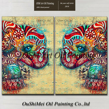 Professional Artist Pure Hand-painted High Quality Colorful Modern Elephant Oil Painting On Canvas Abstract Elephant Pictures