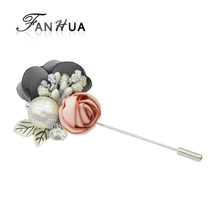 FANHUA New Jewelry Silver Color Pin with Rhinestone Simulated Pearl Colorful Lace Flower Brooch for Women Accessories(China)