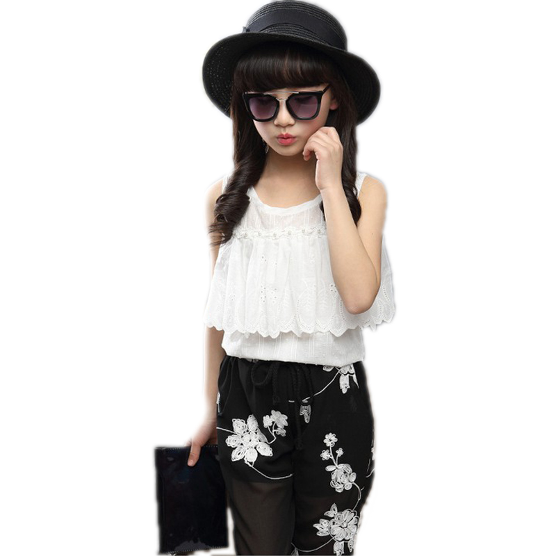 baby girl clothes summer 2017 new baby girl summer sets top solid soft chiffon lace sleeveless t shirt +floral pants 5-11T<br><br>Aliexpress