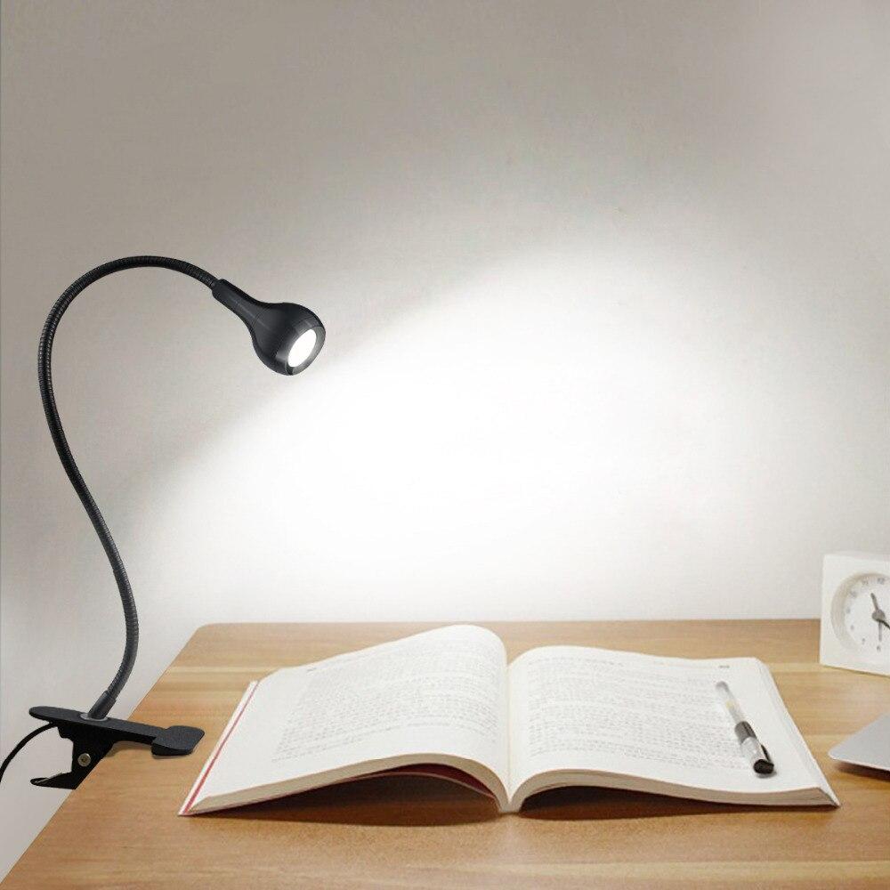 USB LED Flexible Reading Light Clip-on Beside Table Desk Lamp Portable Travel US