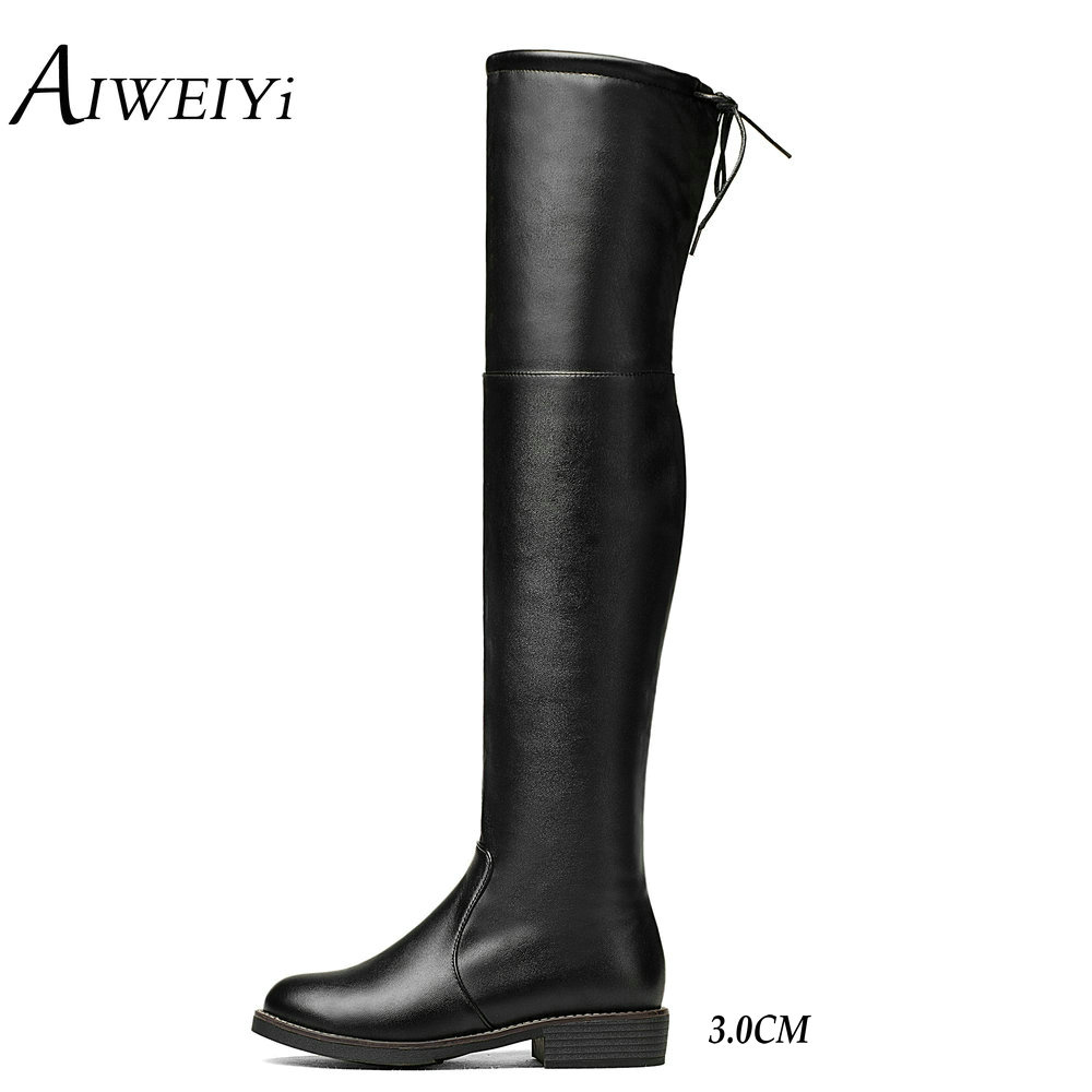 AIWEIYi 2017 Square Low Heel Woman Stretch Fabric Over The Knee Boots Women Shoes Bow Tie Ladies Motorcycle Boots Size 34-43<br>