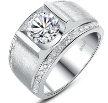 1Ct Round Male Men's Solid 18K 750 White Gold Ring With Wide Band Great High Cost Customize White Gold AU750 Fine Ring