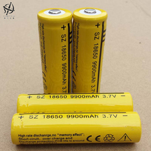 DING LI SHI JIA 4pcs 18650 3.7v 9900 High capacity mah rechargeable lithium battery flashlight batteries 18650 batteries 3.7 V