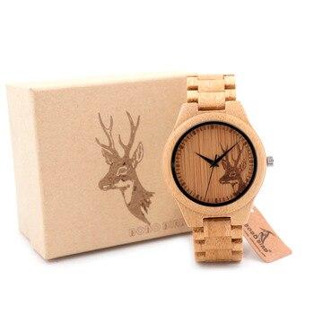 BOBO R01 Llena De Bambú PÁJARO Ciervos De Madera Del Reloj para Los Hombres Diseñador de la Marca de Cuarzo Relojes de Pulsera en Caja de Regalo