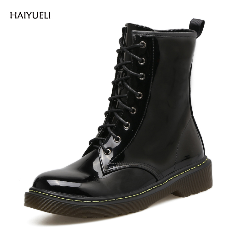 HAIYUELI Martin Boots Fashion Round Toe Patent leather Rubber Women Punk Motorcycle Gothic Womens Boots Winter Shoes<br>