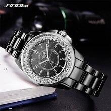 abf5e92c5c3 SINOBI Moda Vestido de Diamantes Mulheres Relógios de Imitação de Cerâmica  Pulseira Top de Luxo Da